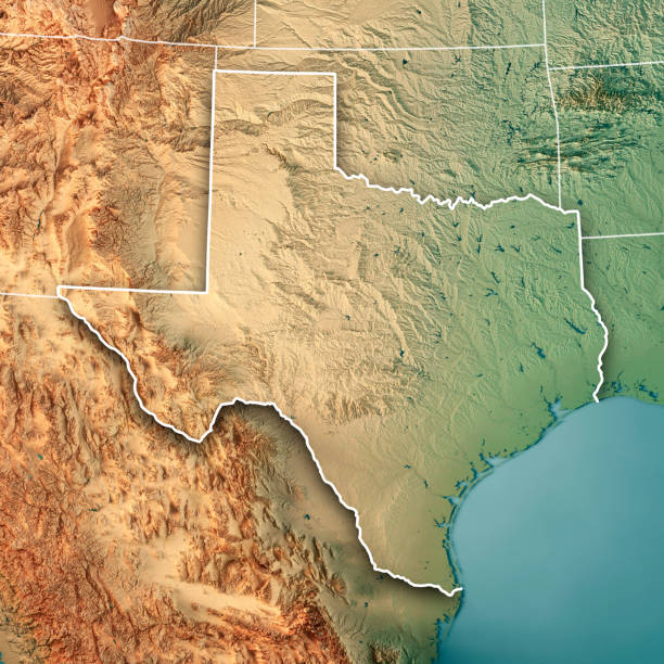 Texas State USA 3D Render Topographic Map Border stock photo