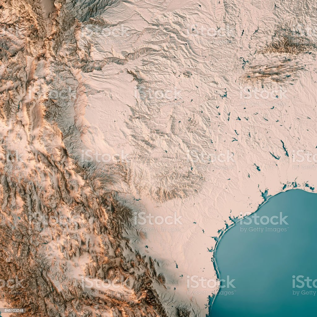 Texas State USA 3D Render Topographic Map Neutral stock photo