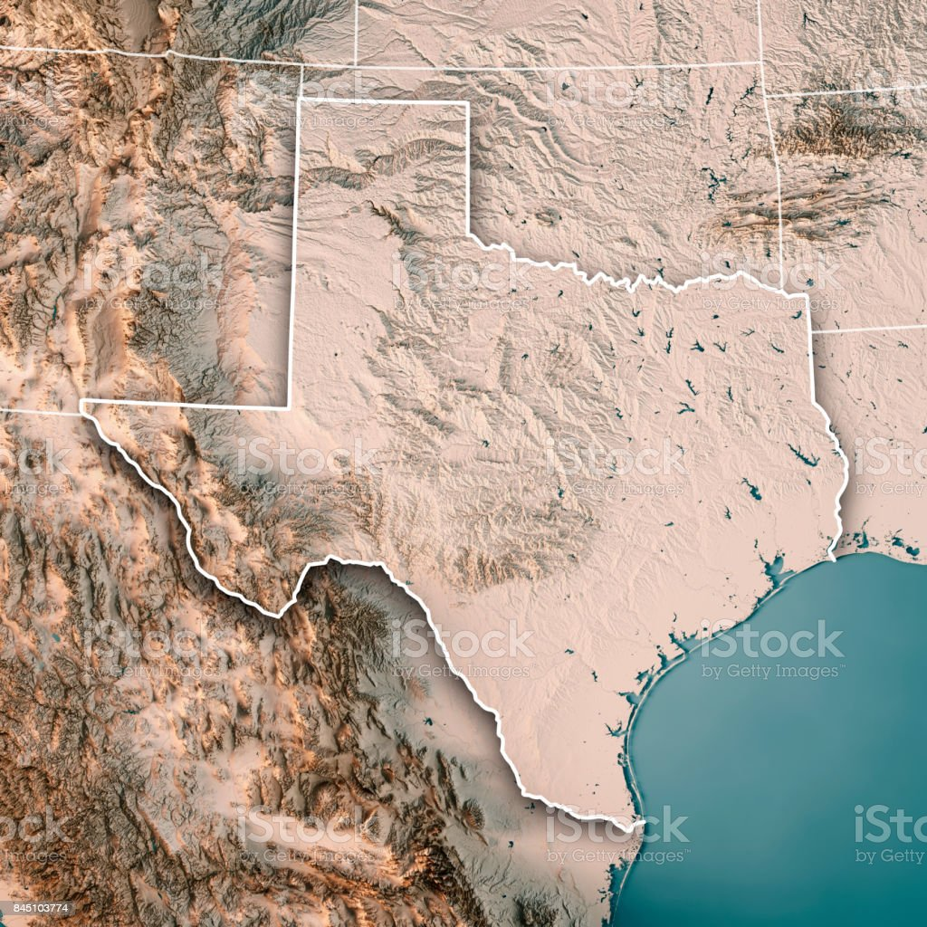 Texas State Usa 3d Render Topographic Map Neutral Stock Photo & More ...