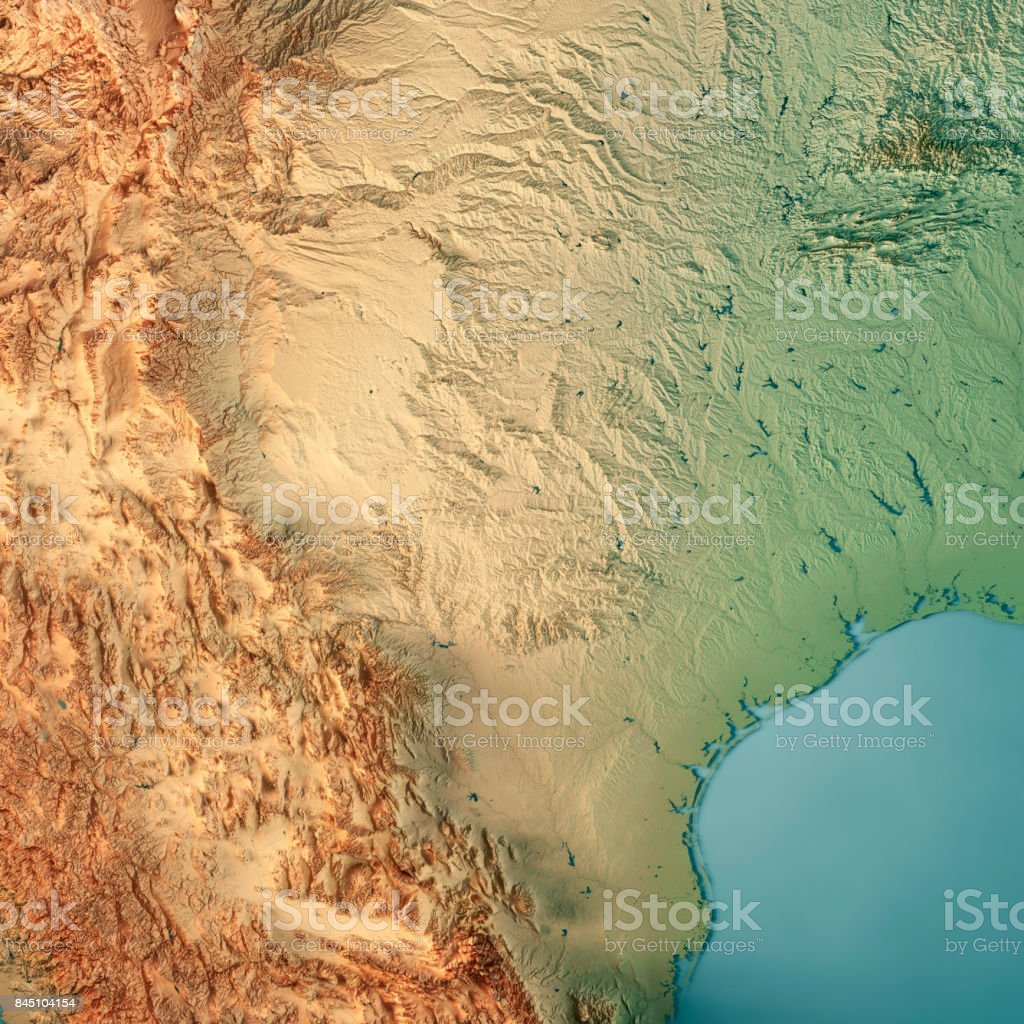 Texas State USA 3D Render Topographic Map stock photo