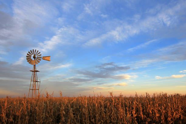 texas style westernmill windmill at sunset, argentina - south stock photos and pictures
