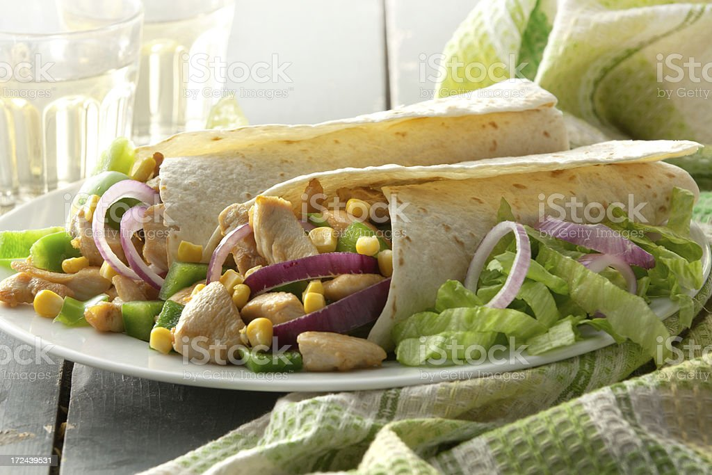 TexMex Food: Chicken Burrito Still Life royalty-free stock photo