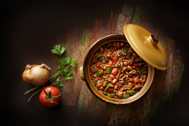 TexMex Food: Chili Con Carne Still Life TexMex Food: Chili Con Carne Still Life stew stock pictures, royalty-free photos & images