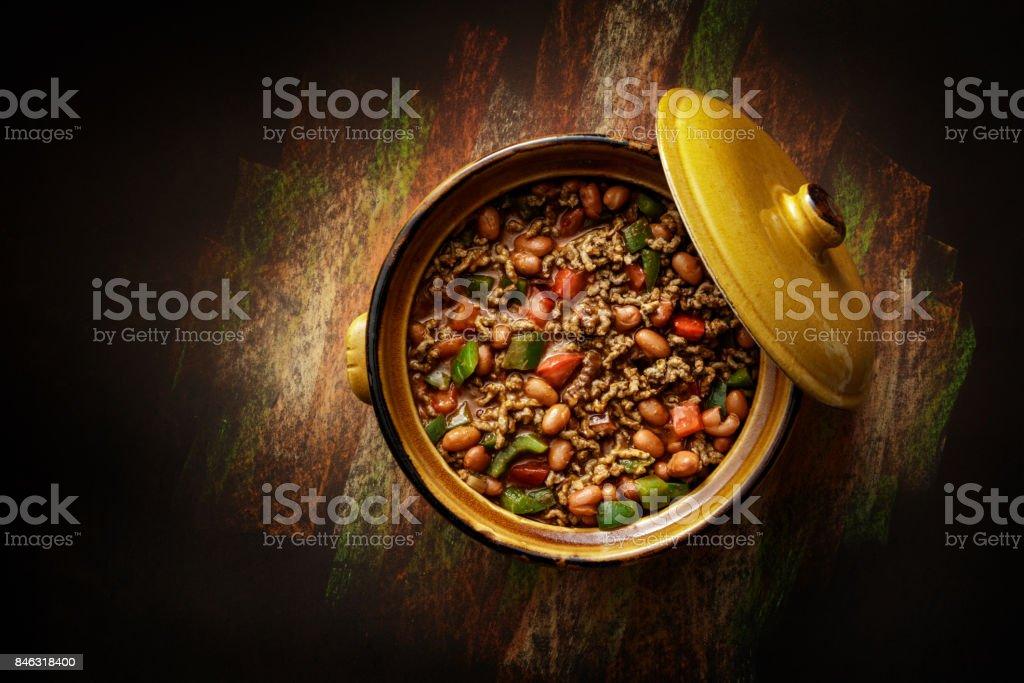 Comida TexMex: Chili com Carne Still Life - foto de acervo