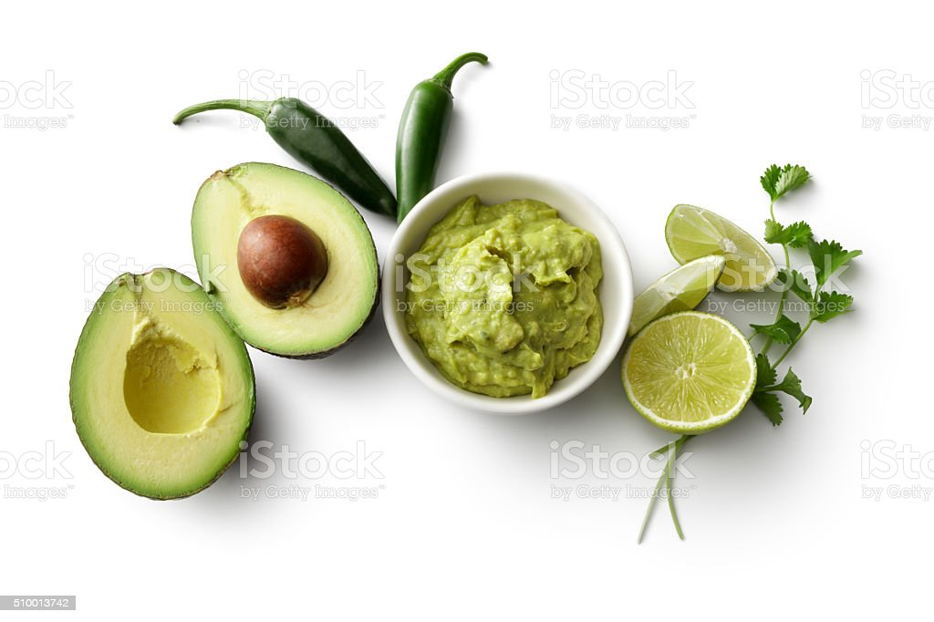 TexMex Food: Guacamole and Ingredients Isolated on White Background stock photo