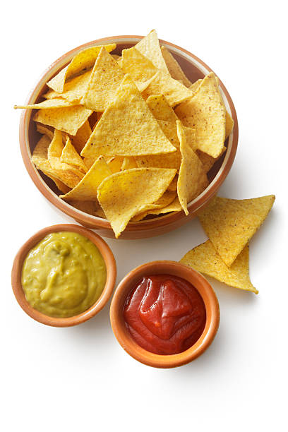 TexMex Food: Nachos, Guacamole and Salsa Isolated on White Background - foto de acervo