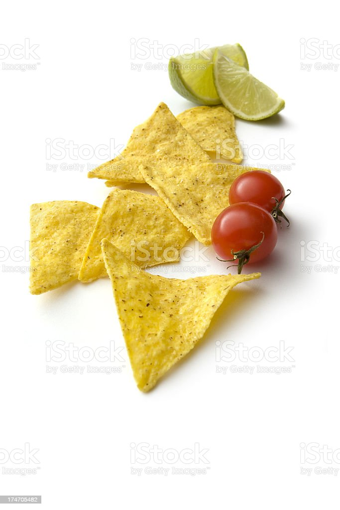 TexMex Food: Nachos, Tomatoes and Lime royalty-free stock photo