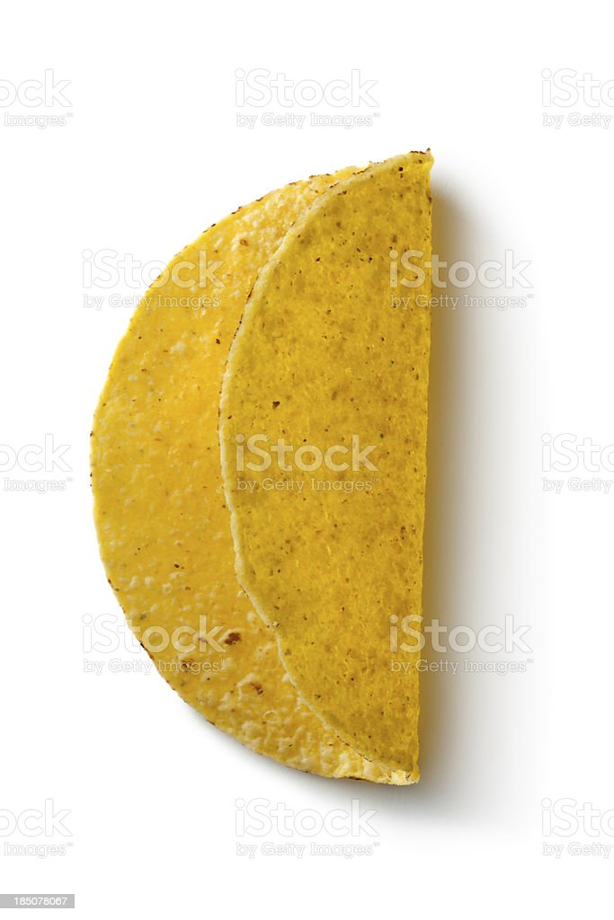 TexMex Food: Tacos Isolated on White Background royalty-free stock photo