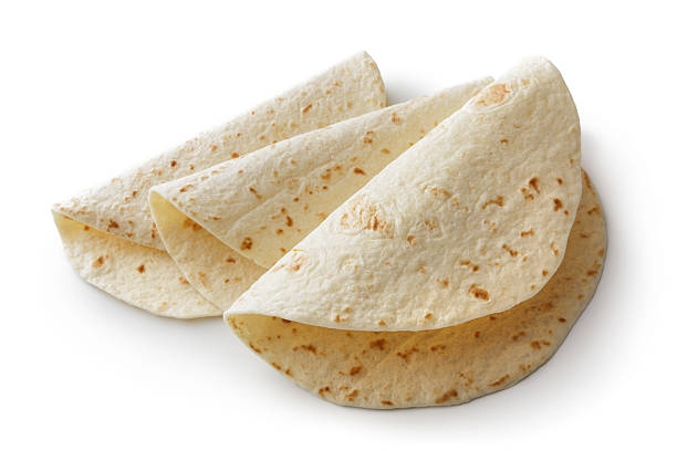 texmex food: tortillas isolated on white background - tortilla stock photos and pictures