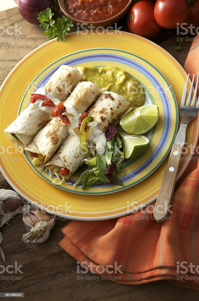TexMex Food: Vegetarian Burrito royalty-free stock photo