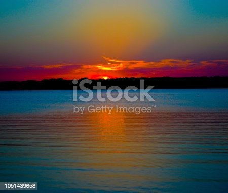 View of the sunset at Lake Texoma, USA.