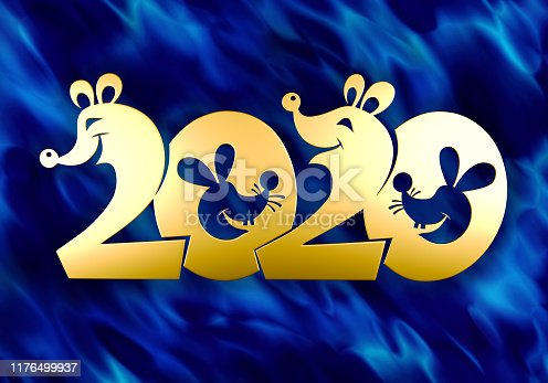 istock Text 2020 is golden in the shape of cute mice. 1176499937