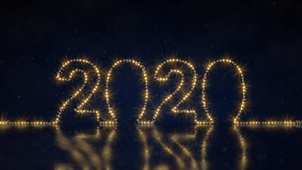 text 2020 der seillicht 3d-render-illustration - lichtschlauch stock-fotos und bilder