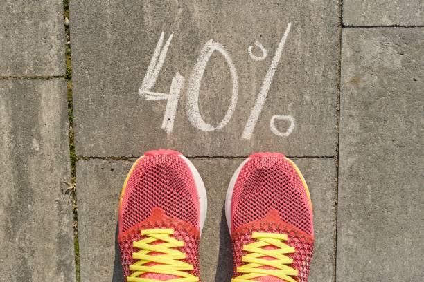 Texte 40% écrit sur trottoir gris avec pattes de femme en baskets, vue d'en haut - Photo