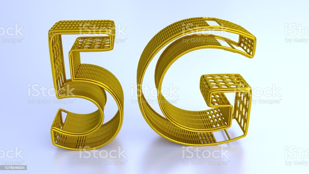 Text '5G' made in gold structure. 3d rendering. stock photo