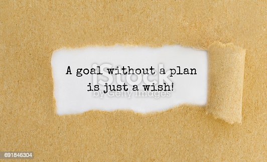 Text A goal without a plan is just a wish appearing behind ripped brown paper.