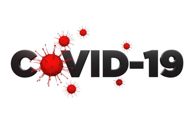 COVID-19 Text und rote Viren auf weißem Hintergrund – Foto