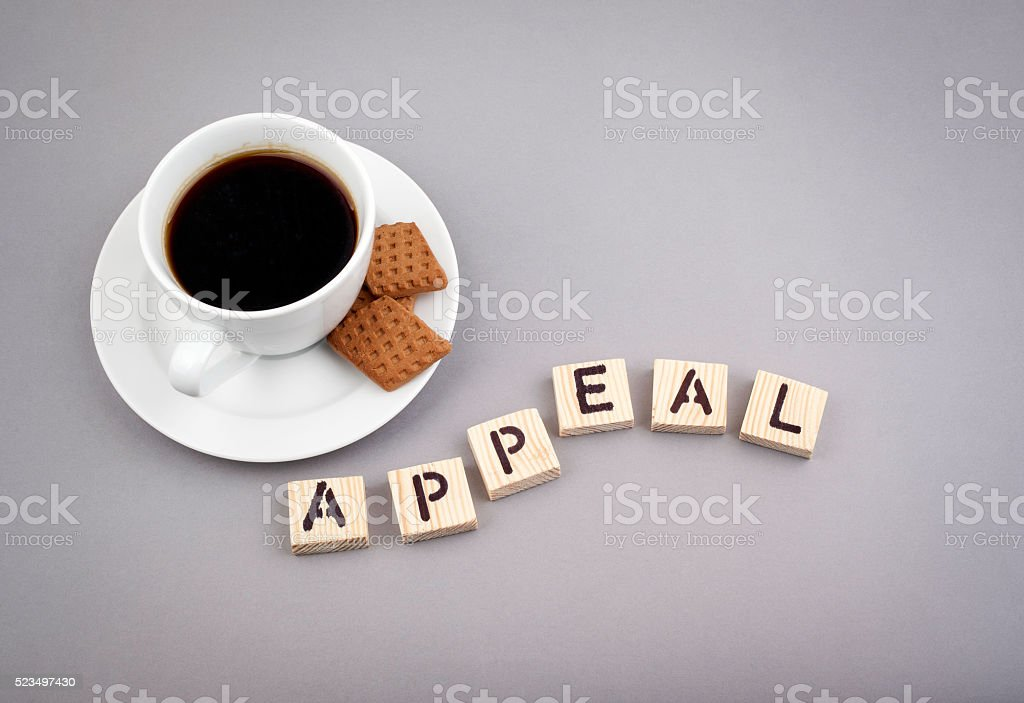 Text: Appeal from wooden letters on a gray background stock photo