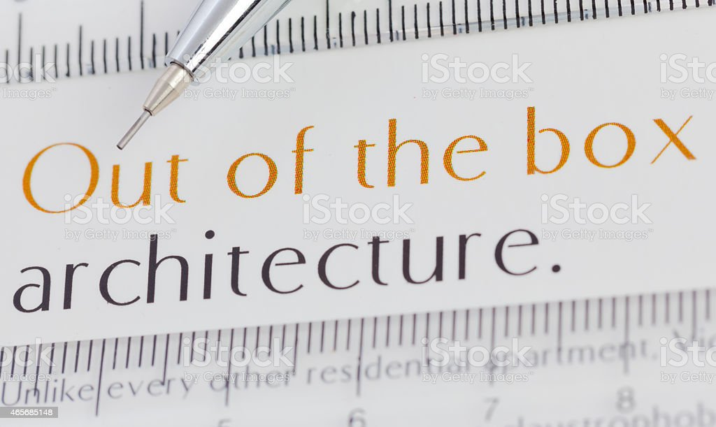 Text architecture closeup with drawing tools stock photo