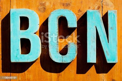 istock text BCN, abbreviation for Barcelona 1156445191