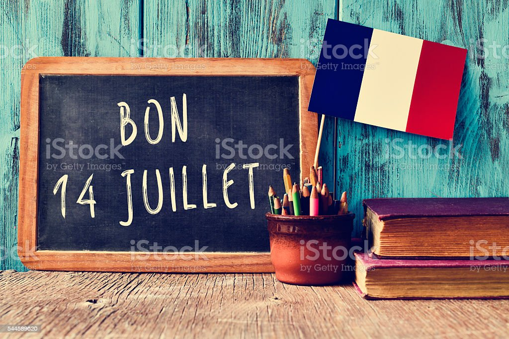 text bon 14 juillet, happy 14th of July in French - Photo