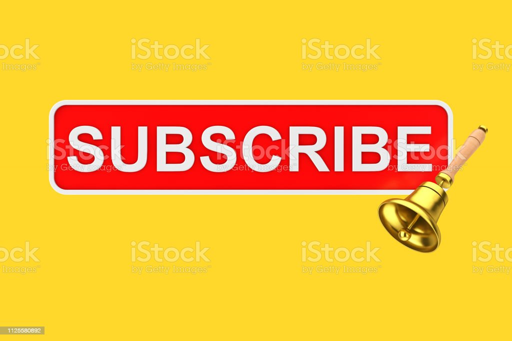 Text Box Subscribe Button with Golden Notification Bell. 3d Rendering stock photo