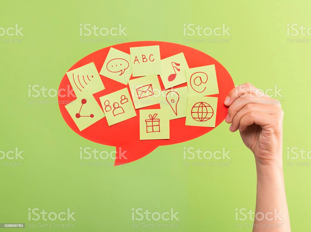 Text Bubble With Symbols Stock Photo More Pictures Of Admiration