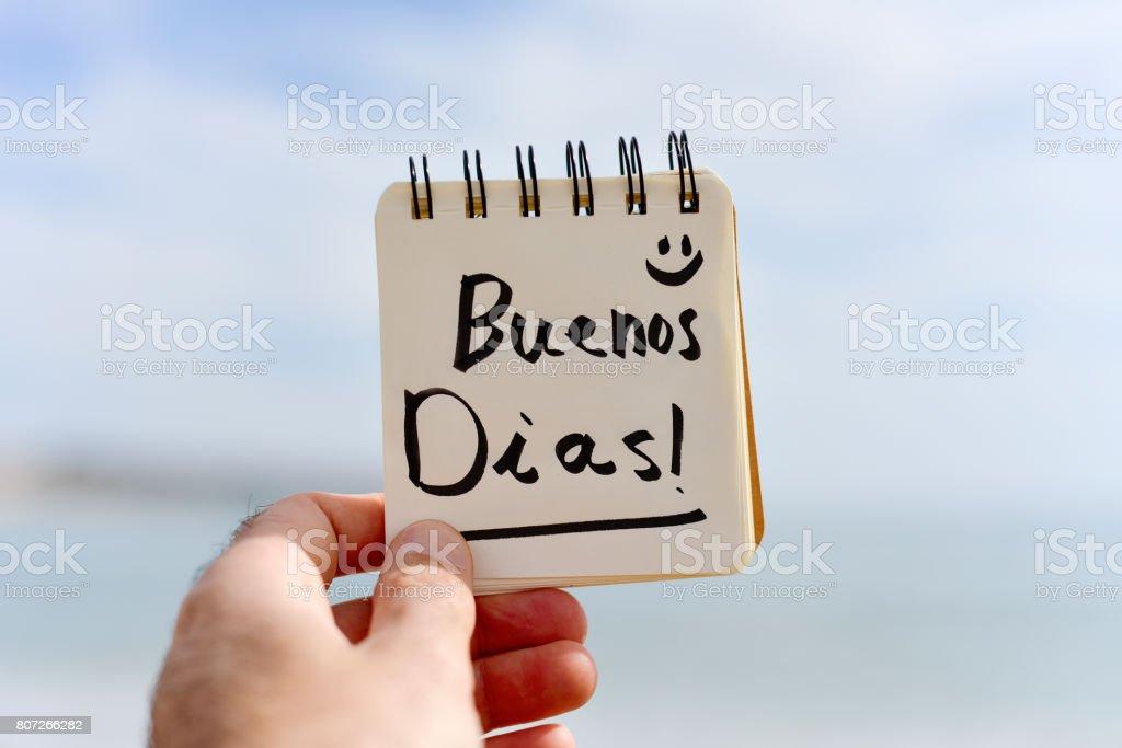 Textbuenos Dias Guten Morgen In Spanisch Stock-Fotografie und mehr ...