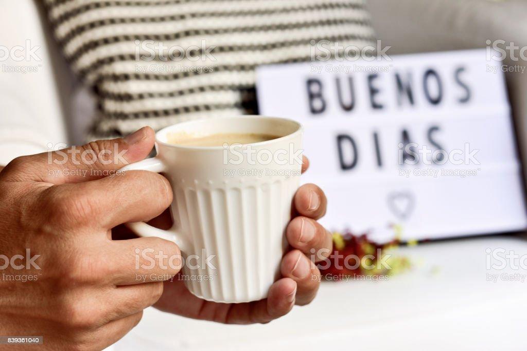 Textbuenos Dias Guten Morgen In Spanisch Stockfoto Und Mehr