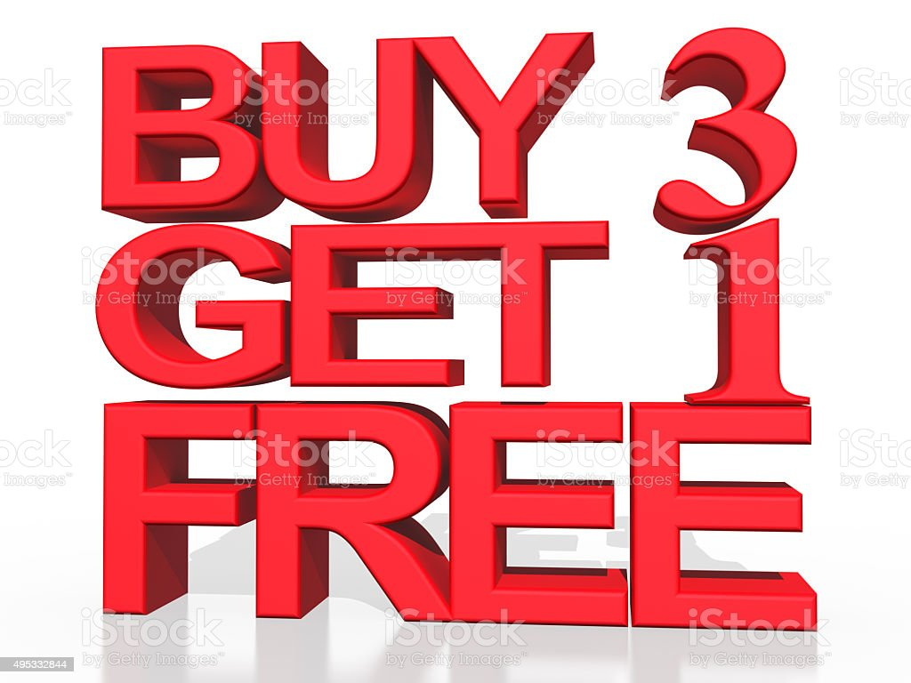 3D text Buy 3 Get 1 free on white background stock photo