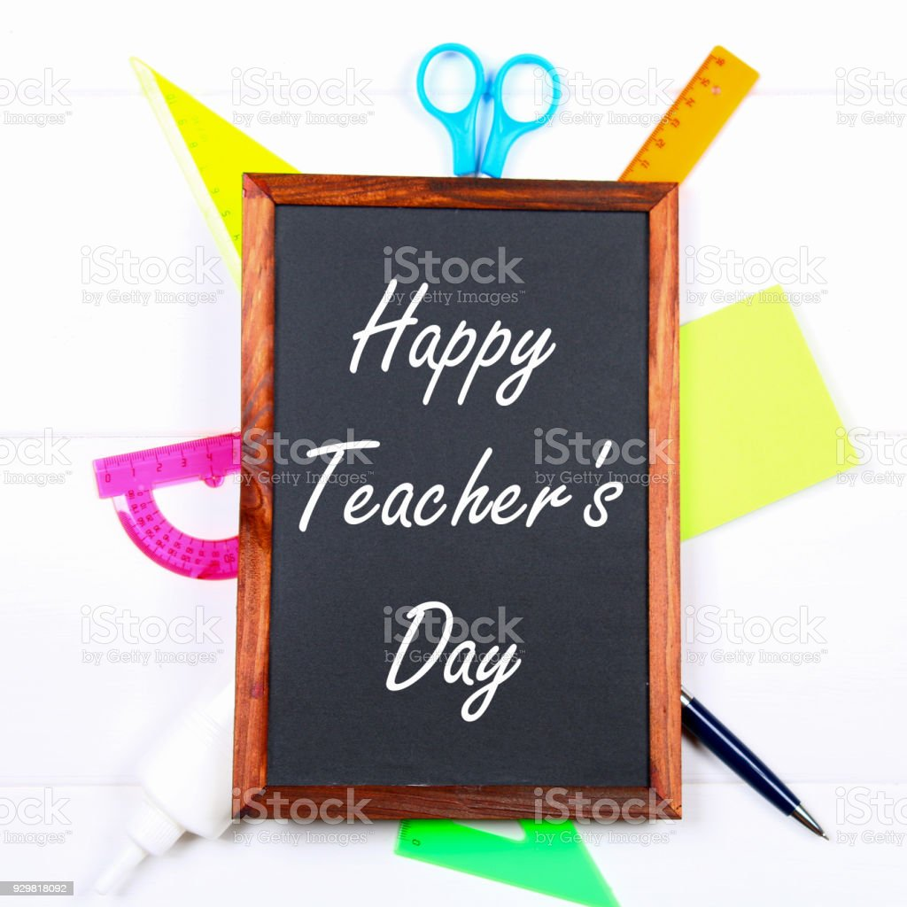 Text Chalk On A Chalkboard Happy Teacheru0027s Day School Supplies Office Books