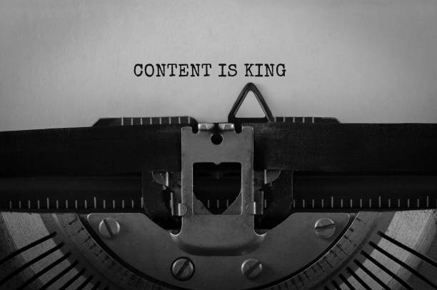 Text Content is King typed on retro typewriter stock photo