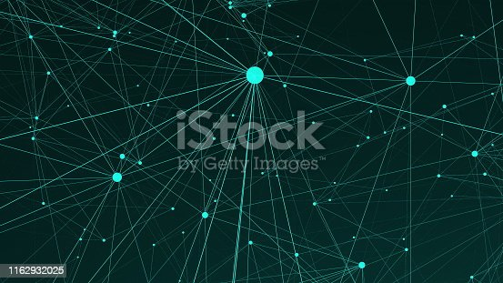 1162932025 istock photo Text Content of many connecting dots in the space, modern digital background for internet, 3d computer generated backdrop 1162932025