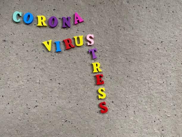 Text CORONAVIRUS auf grauem Hintergrund – Foto