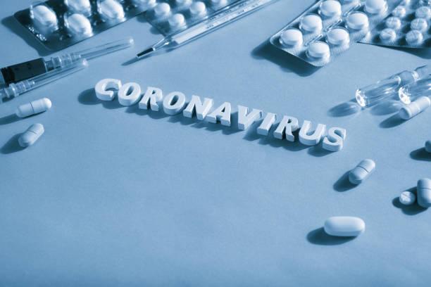 Text Coronavirus, pills, syringes, thermometer. Monochrome image stock photo