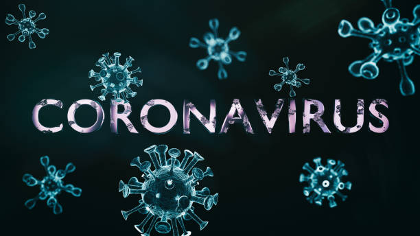 text coronavirus with several 3d models of the virus on a dark background - dna virale foto e immagini stock