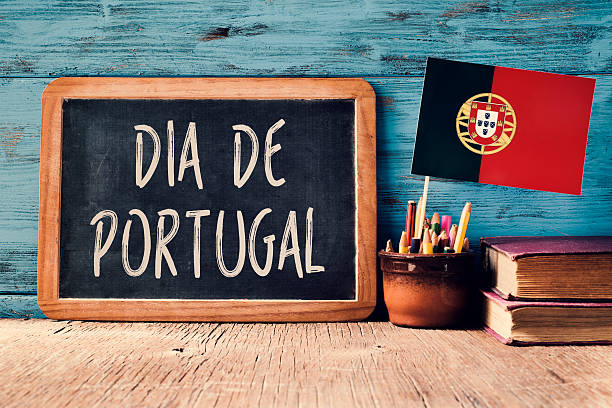 text Dia de Portugal and Portuguese flag stock photo