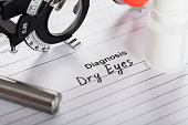 istock Text Diagnosis Dry Eyes On Paper With Diopter And Medicine 917896472