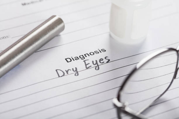 text diagnosis dry eyes on paper with glasses and medicine - dry stock pictures, royalty-free photos & images