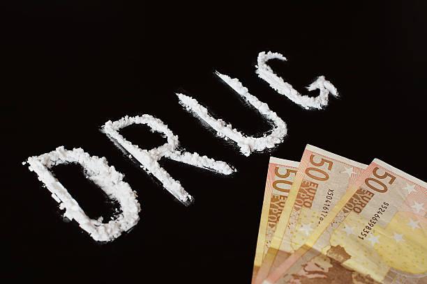 text drug and money - ketamine stockfoto's en -beelden