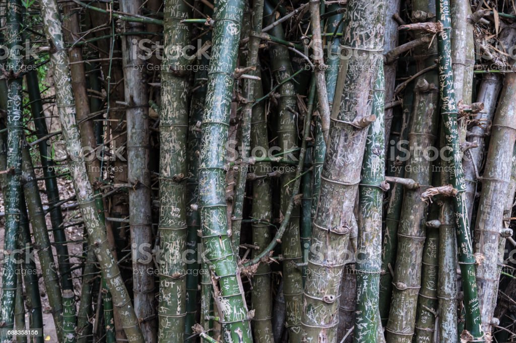 Text engraving to bamboo from traveller stock photo