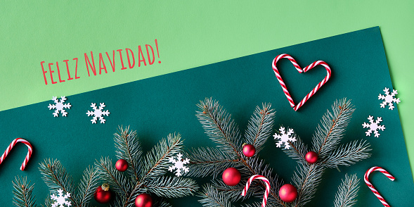 Text Feliz Navidad means Merry Christmas in Spanish. Decorated fir twigs on two tone green paper