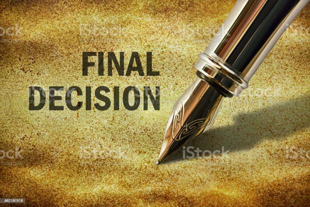 Text Final Decision stock photo