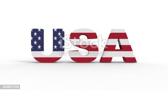 istock 3D USA SUA text flag 506801045