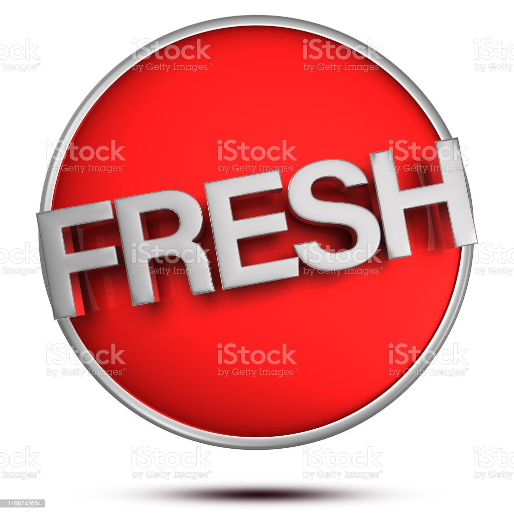 Text Fresh 3d.(with Clipping Path). Text Fresh 3d rendering on white background. Art Stock Photo
