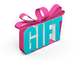 text gift tied with a bow. 3d rendering