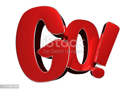 istock Text Go red 3d.With Clipping Path. 1141360468