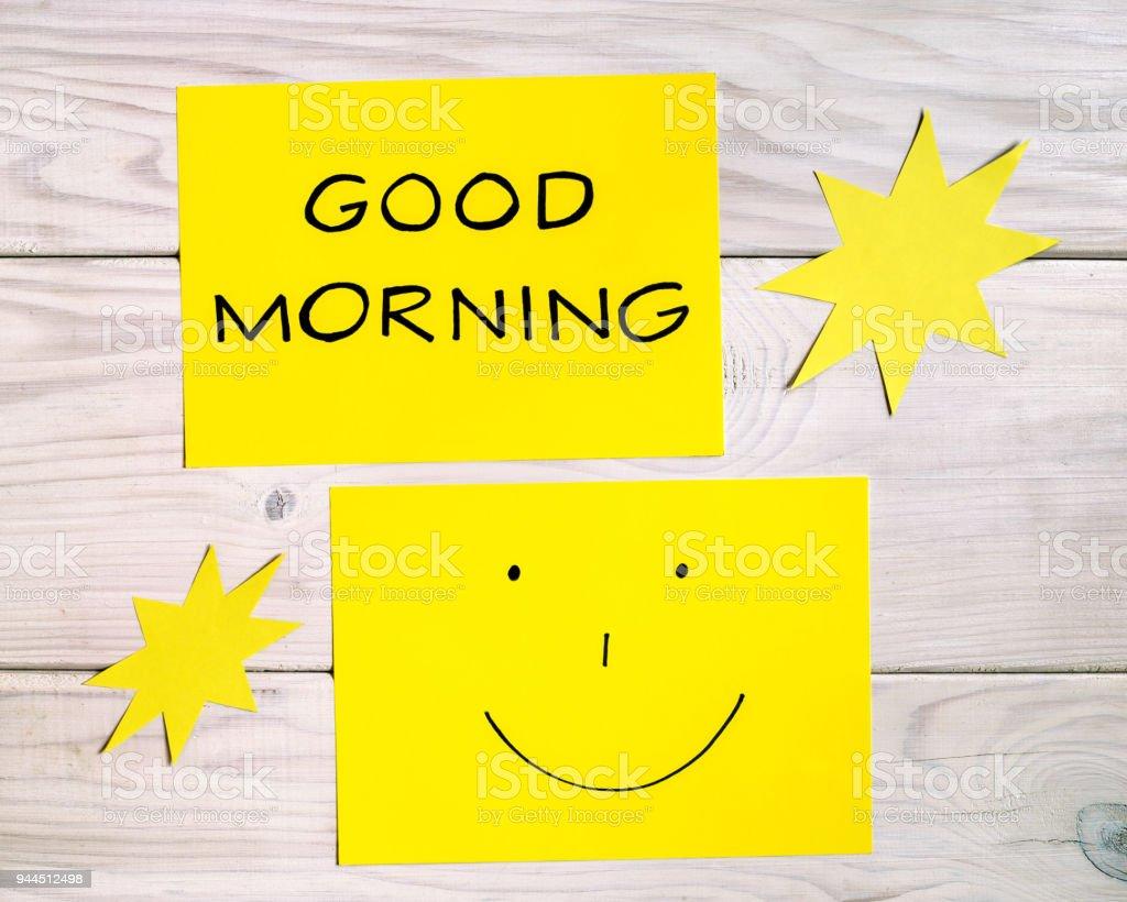 Guten Morgen Und Immer Gut Gelaunt Textschrift Stockfoto Und