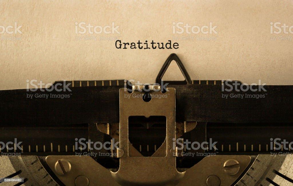 Text Gratitude typed on retro typewriter stock photo