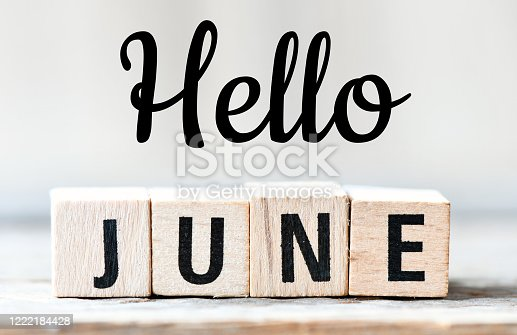 HELLO JUNE text. Greeting the new month - Concept.